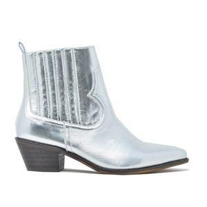 Women's Slip On Silver Stacked Heel Ankle Bootie